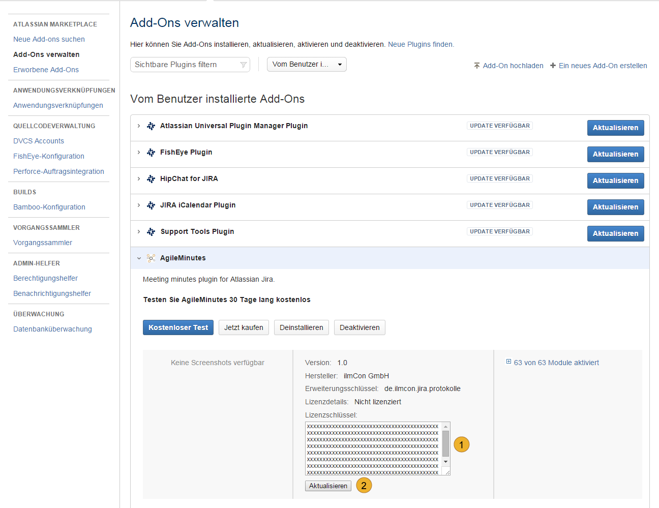 AgileMinutes Installation über JIRA Add-on Administration