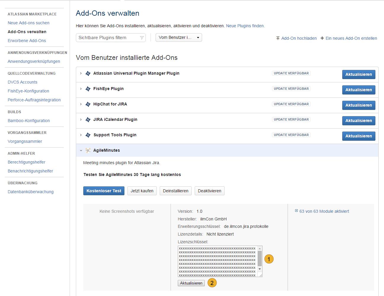 AgileMinutes Installation über JIRA Add-on Administration