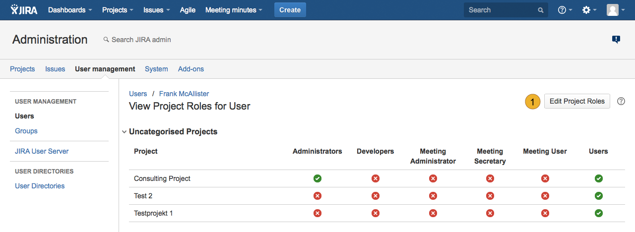 Atlassian JIRA - user management - user project roles