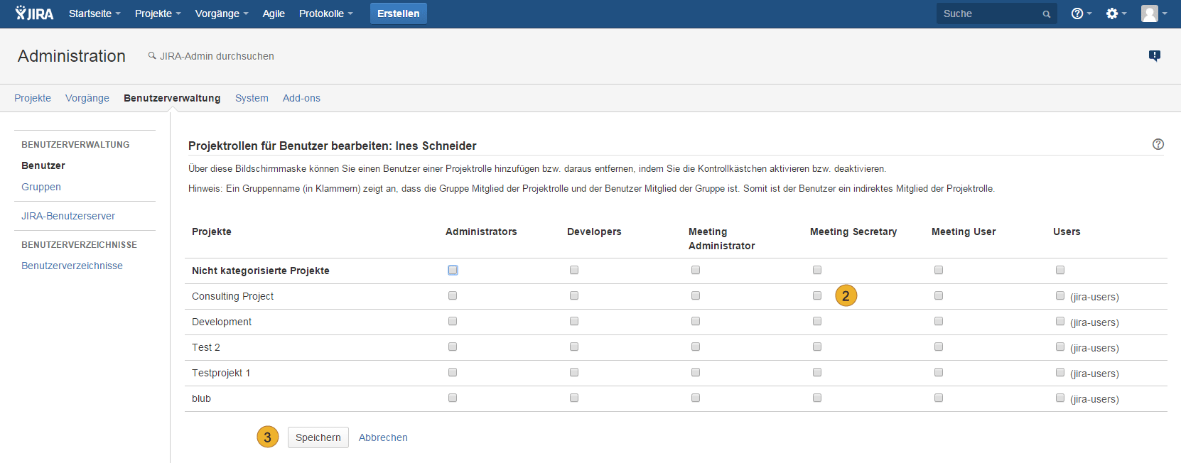 Atlassian JIRA - Benutzerverwaltung - Projektrollen für Benutzer bearbeiten - AgileMinutes Rechte - Meeting Secretary, Meeting Administrator, Meeting User
