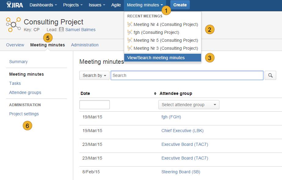 AgileMinutes - structure, Navigation, menu Overview
