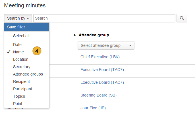 AgileMinutes - search for meeting minutes, attendee groups