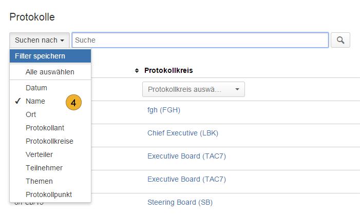 AgileMinutes - Suche über Protokolle / Protokollkreise