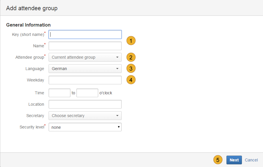 Add attendee group general information - dialogue in english language