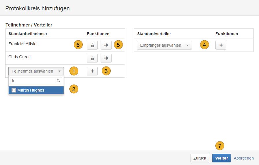 AgileMinutes - Protokollkreis hinzufügen (Standardteilnehmer / Standardverteiler hinzufügen)