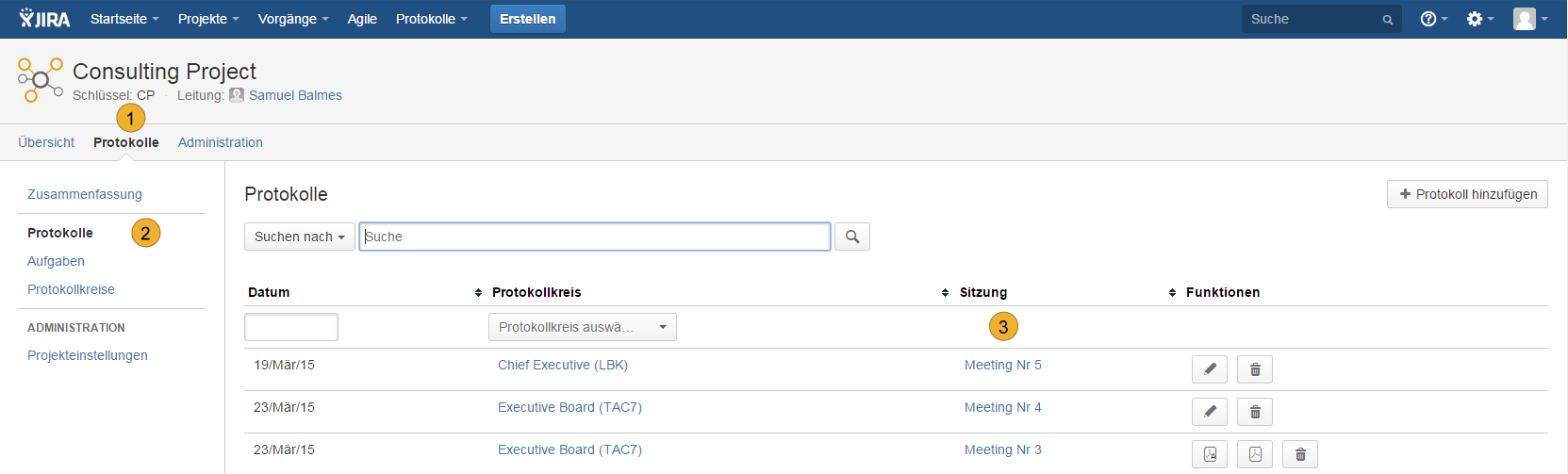 AgileMinutes - Übersicht Protokolle / Besprechungen