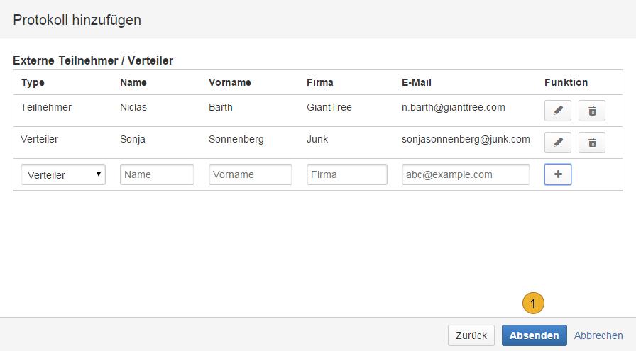 AgileMinutes - Protokoll / Besprechnung hinzufügen (Teilnehmer, Verteiler)