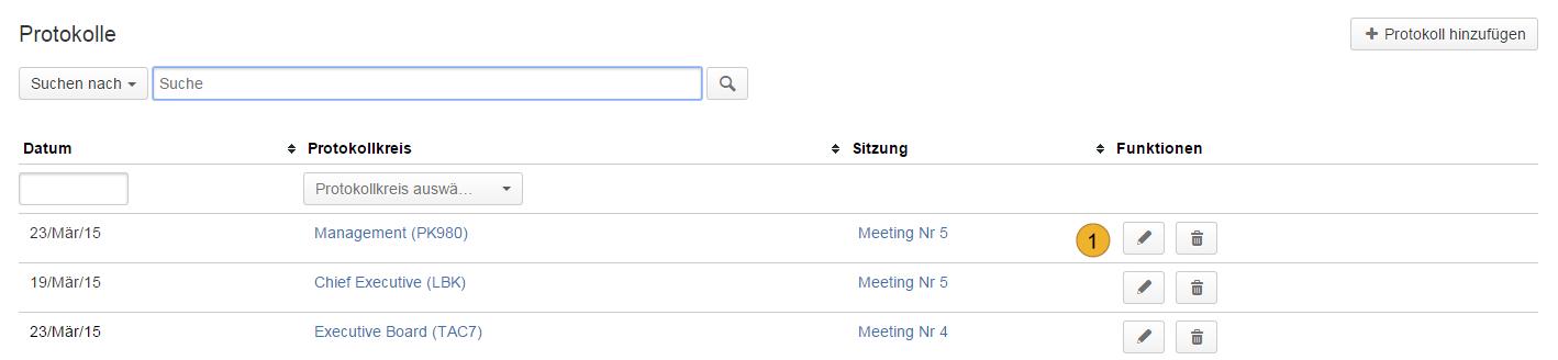 AgileMinutes - Protokolle / Besprechungen Überblick