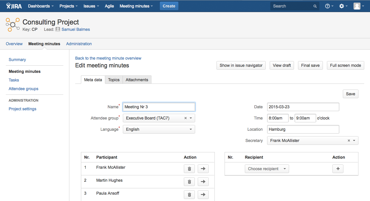 AgileMinutes - edit Meeting Minute (Metadata tab, Topics tab, Attachements tab)