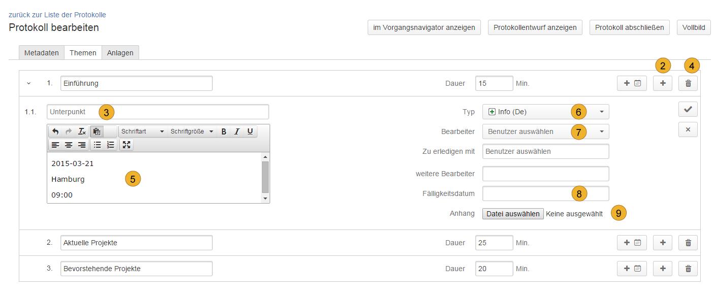 AgileMinutes - Themen Tab - Hinzufügen von Themen, Unterpunkten, Anlagen, Auswahl von Benutzern, Fälligkeitsdatum, weitere Bearbeiter, Vorgangstyp