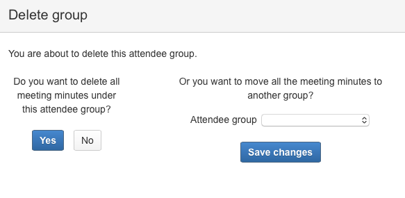 AgileMinutes - Delete attendee groups with meeting minutes