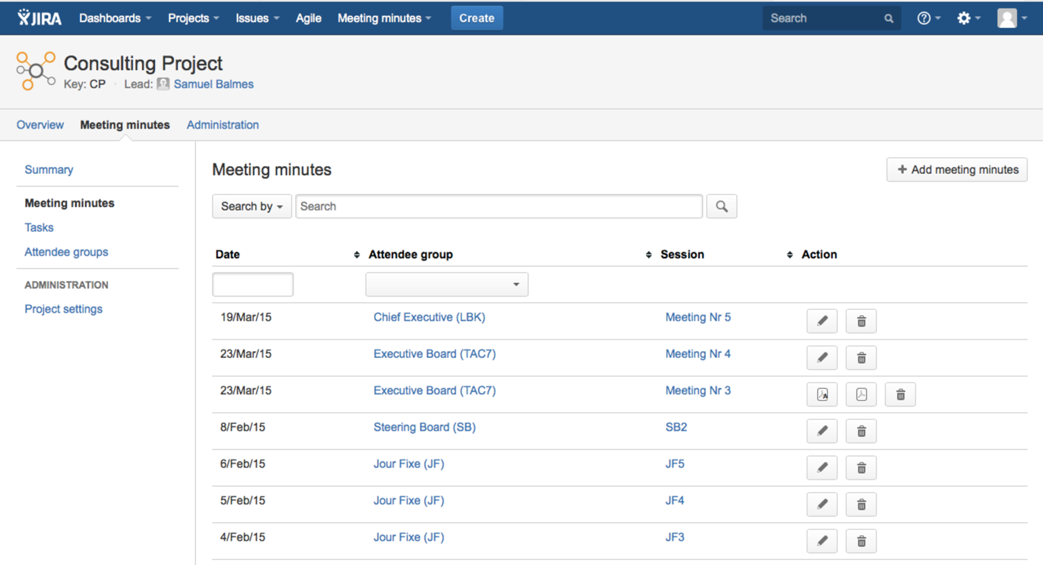 Delete meeting minutes - AgileMinutes for JIRA - Meeting