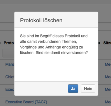 AgileMinutes - Löschen von Protokollen - Warnung vor dem endgültigen Löschen