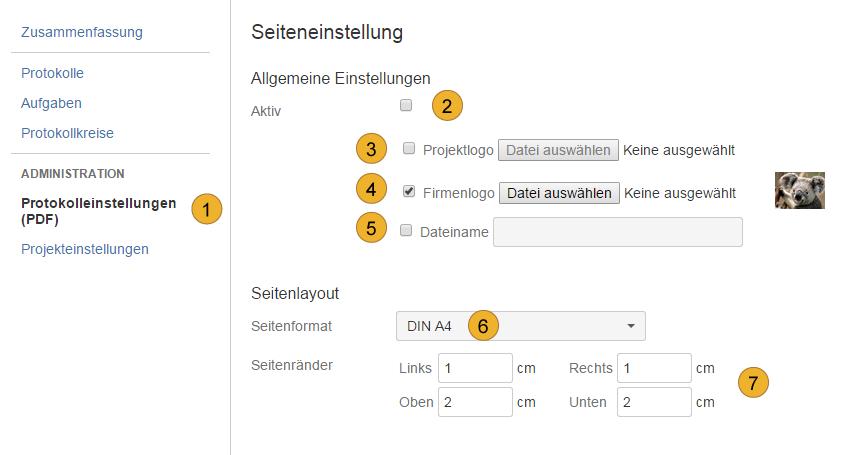 AgileMinutes - Protokolleinstellungen - Allgemeine Einstellungen, Logo, Dateiname etc.