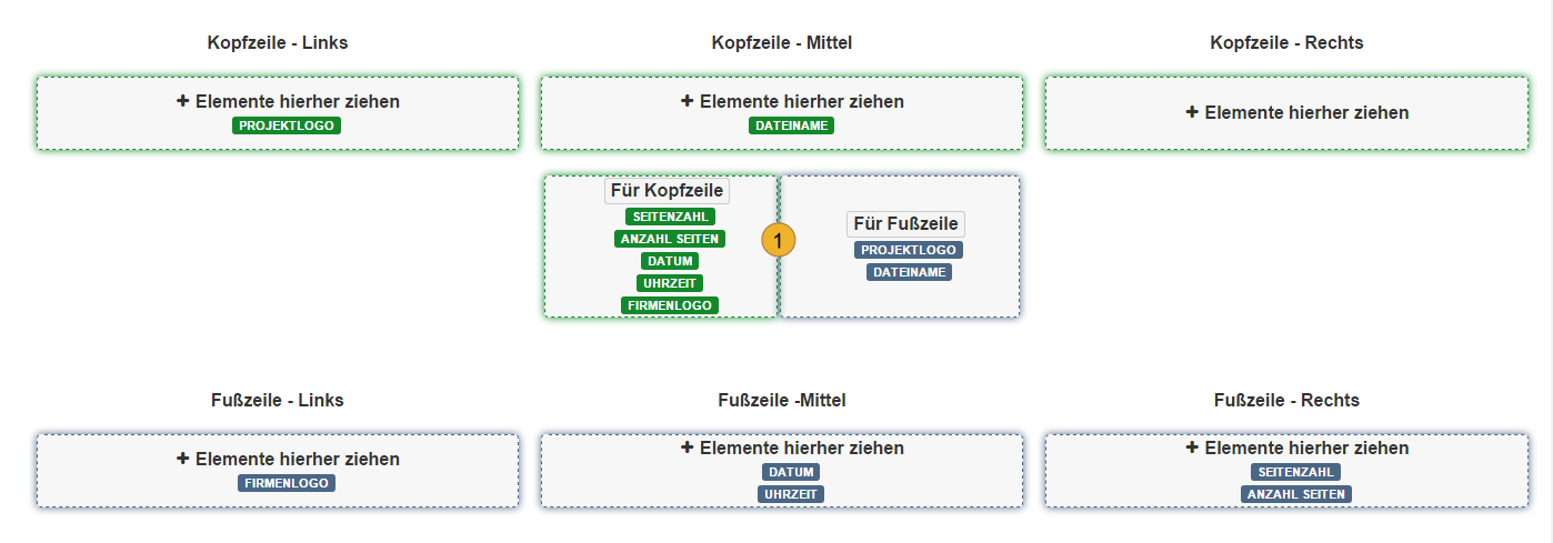 more meeting minutes PDF layout (Header left, middle, right; Footer left, middle, right) in german language