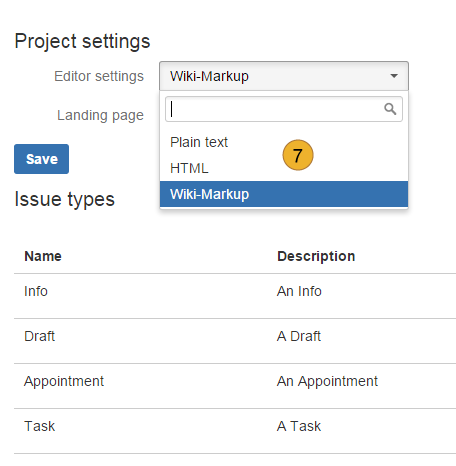 project settings for AgileMinutes