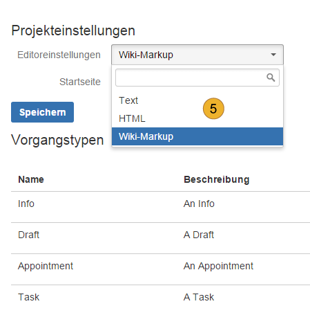 project settings for meeting minutes (issue types, editor settings, landing page)