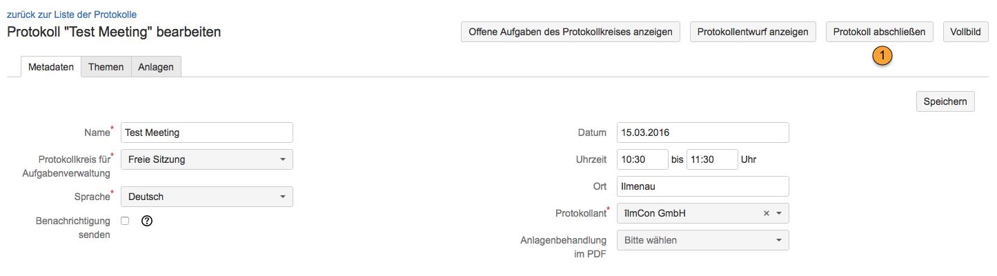 AgileMinutes - Abschließen von Protokollen (Erstellung PDF Version)