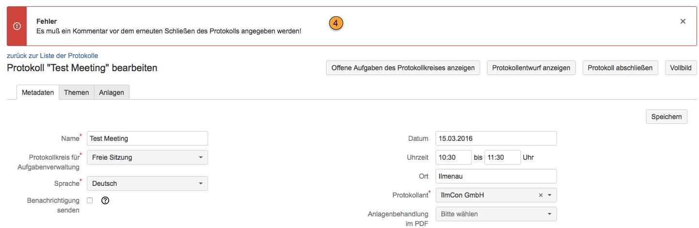AgileMinutes - Protokoll fertigstellen / Protokoll abschließen - Fehlermeldung falls kein Kommentar zum Abschluss eines wiedereröffneten Protokolls angegeben wurde