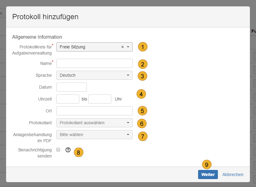 AgileMinutes - Protokoll / Besprechung hinzufügen (Name, Protokollkreisauswahl, Sprache, Datum, Uhrzeit, Ort, Protokollant)