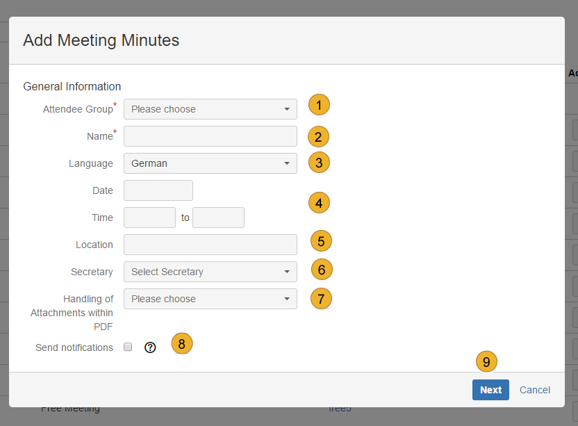 AgileMinutes - add Meeting Minute (Name, Attendee Group, Language, Date, Time, Place, Secretary)