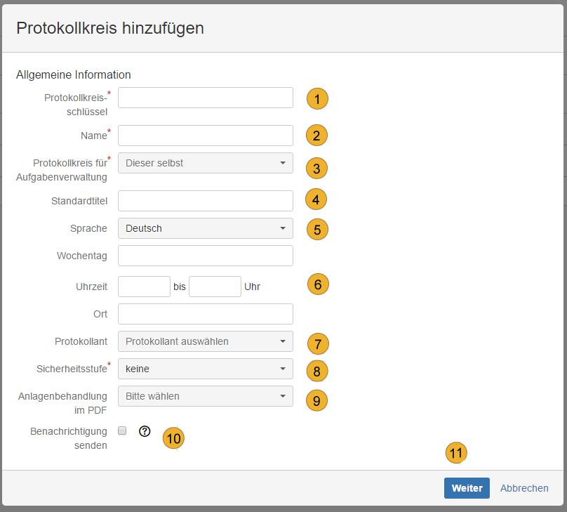 AgileMinutes - Protokollkreis hinzufügen (Allgemeine Informationen)
