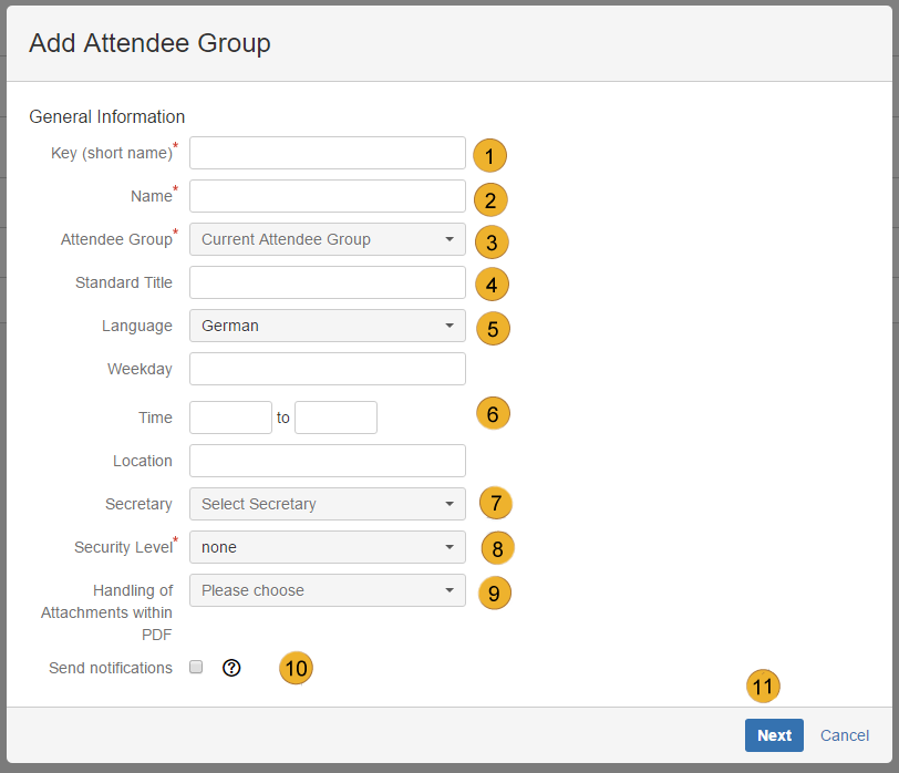 AgileMinutes - Add Attendee Groups (General Information)
