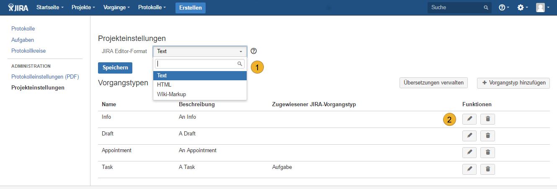AgileMinutes - Projekteinstellungen - Vorgangtypen zuweisen