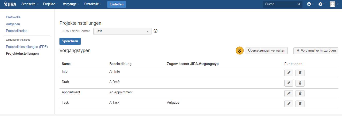 AgileMinutes - Projekteinstellungen - Vorgangtypen zuweisen / Übersetzungen verwalten