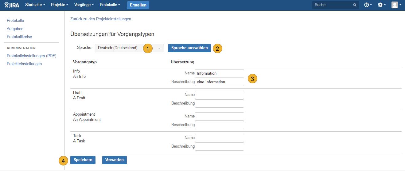 AgileMinutes - Projekteinstellungen - Übersetzungen für Vorgangstypen