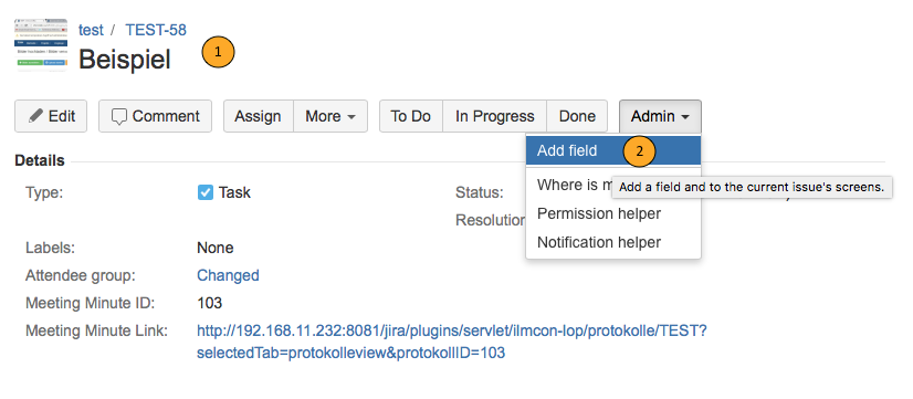 AgileMinutes - adding references - add field