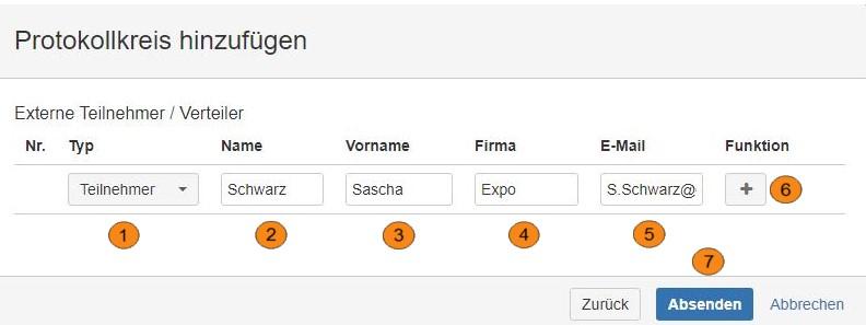 AgileMinutes - Protokollkreis hinzufügen (externe Teilnehmer / Verteiler)